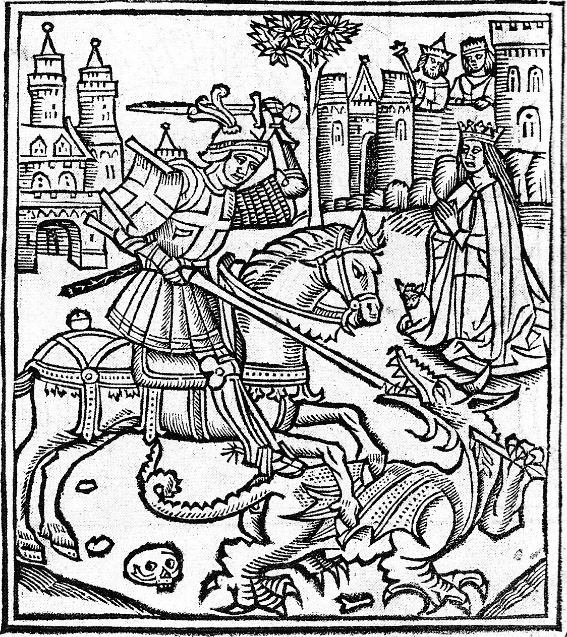 Woodcut of St George Slaying the Dragon from the Life of ...