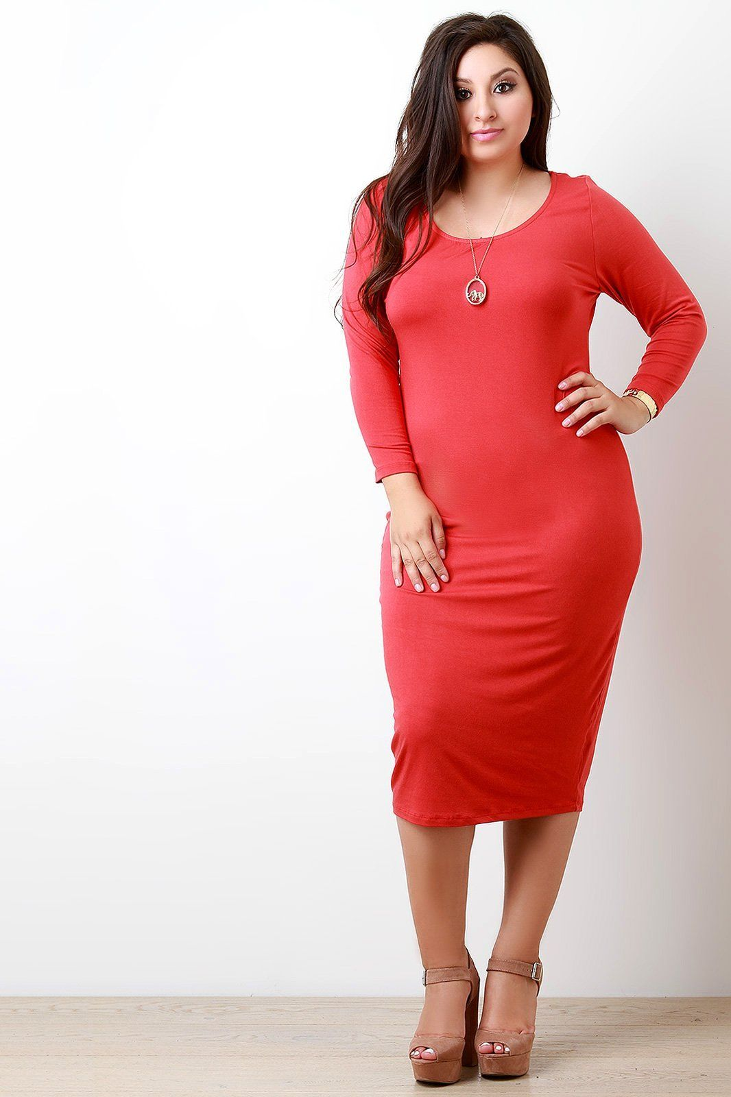 Solid jersey scoop neck longsleeve dress products