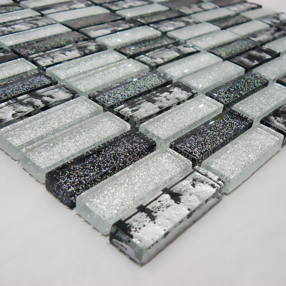 *SAMPLE Black Silver /& White Textured Glass /& Aluminum Kitchen Bath Mosaic Tile