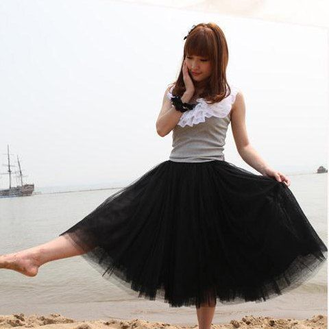 Refreshing Elastic Waist Puff Five layers Voile Multicolor Skirts For Women
