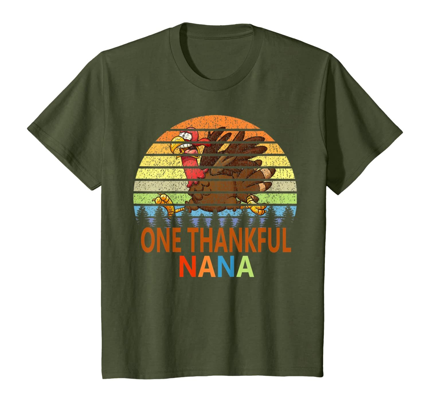 One Thankful Nana Vintage Turkey Nana Thanskgiving Gifts T-Shirt