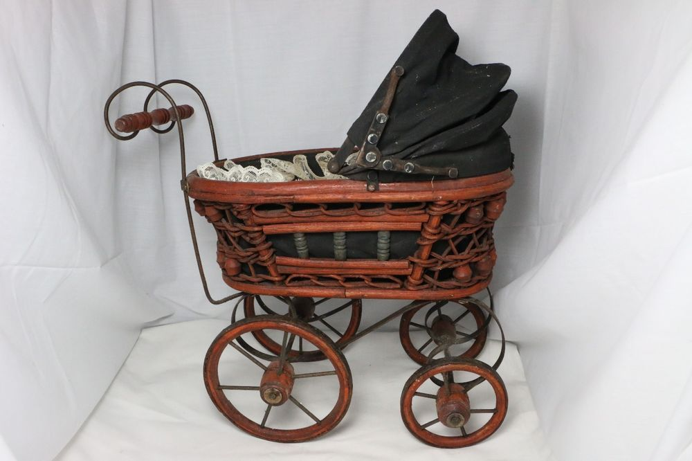 Vintage Baby Doll Pram Carriage Stroller Wicker And