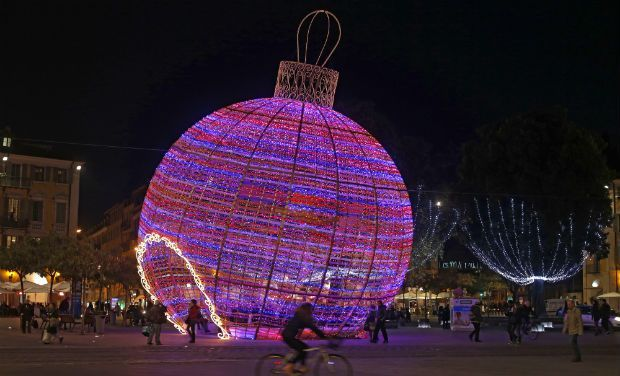 a giant christmas ball is displayed in nice southeastern france christmas world - Giant Christmas Balls