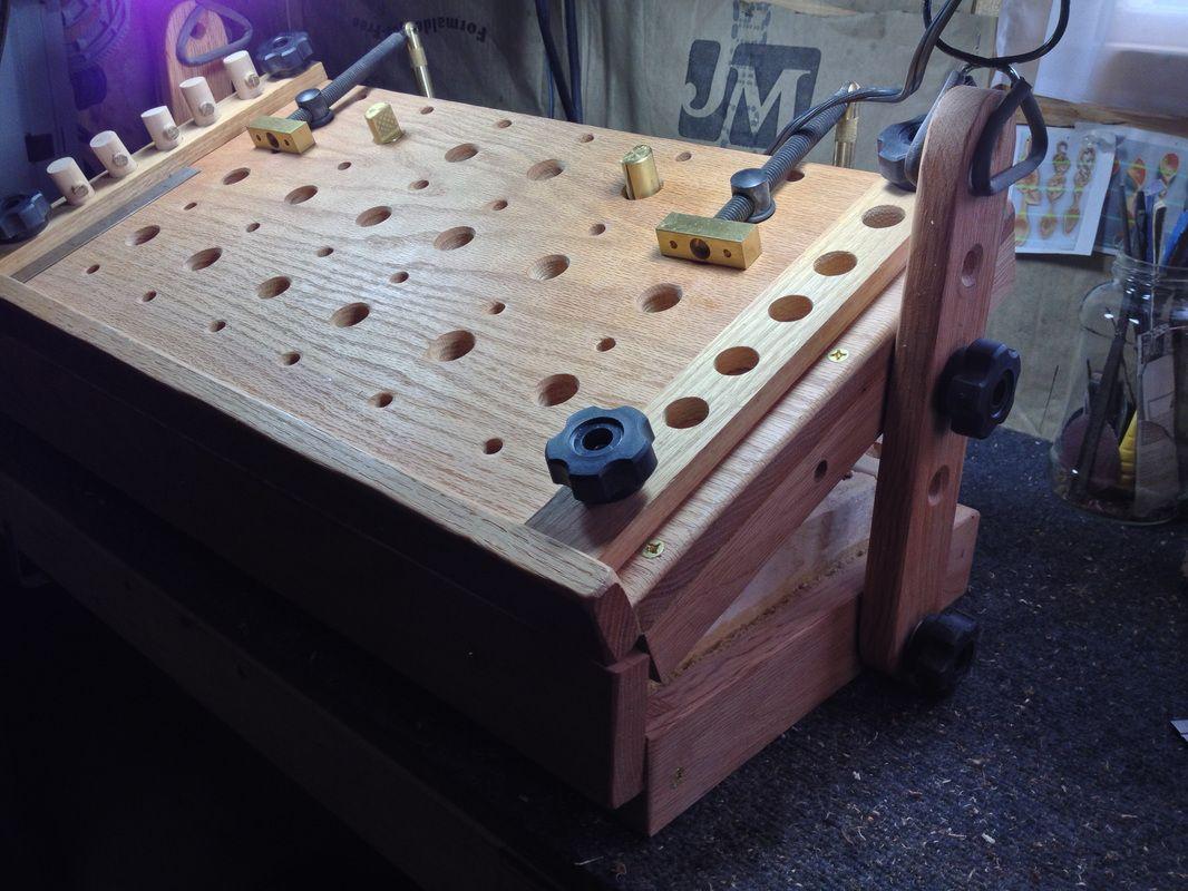 Wood carving bench station woodcarver adjustable table carved