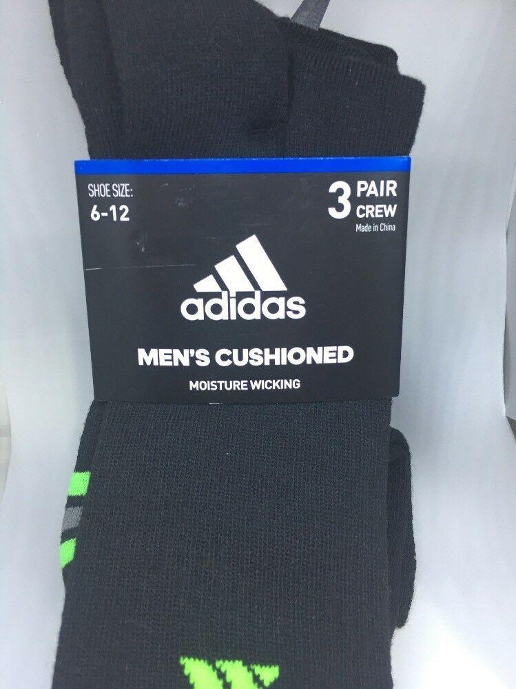 New adidas 3 pair crew socks mens cushioned moisture