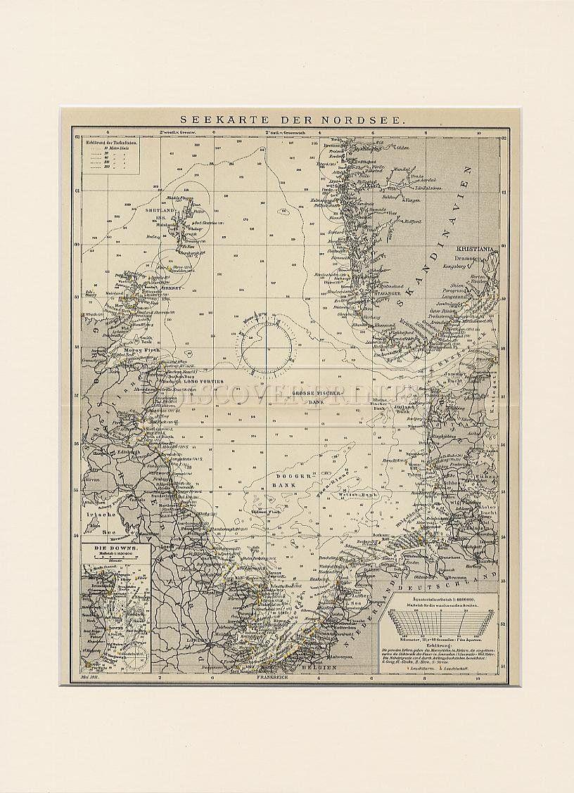Print A3 00063 P Seekarte Der Nordsee Antique Lithograph Jpeg 816 1 128 Pixels Seekarte Nordsee Karten