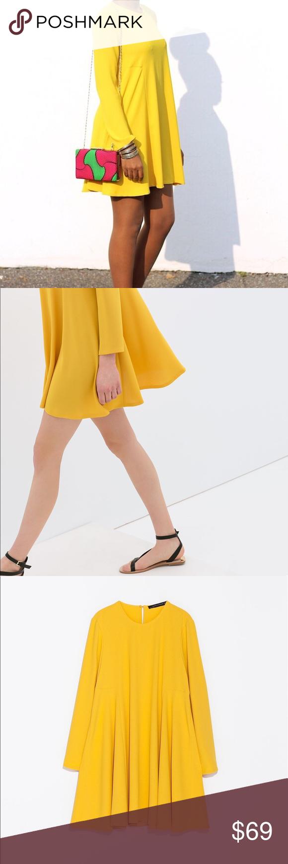 Zara / Yellow Long Sleeve Dress Zara Woman   mustard ...