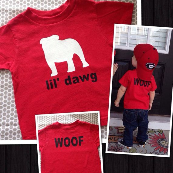 Personalized Lil Dawg Tshirt Toddler Kids Football Uga