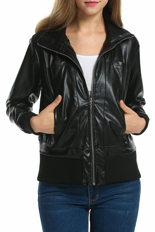 Women S Motorcycle Biker Faux Leather Jacket Zip Up Bomber Jacket Coat Black C012m9j57tf Coats Jackets Women Leather Coat Womens Leather Jacket [ 1500 x 1000 Pixel ]