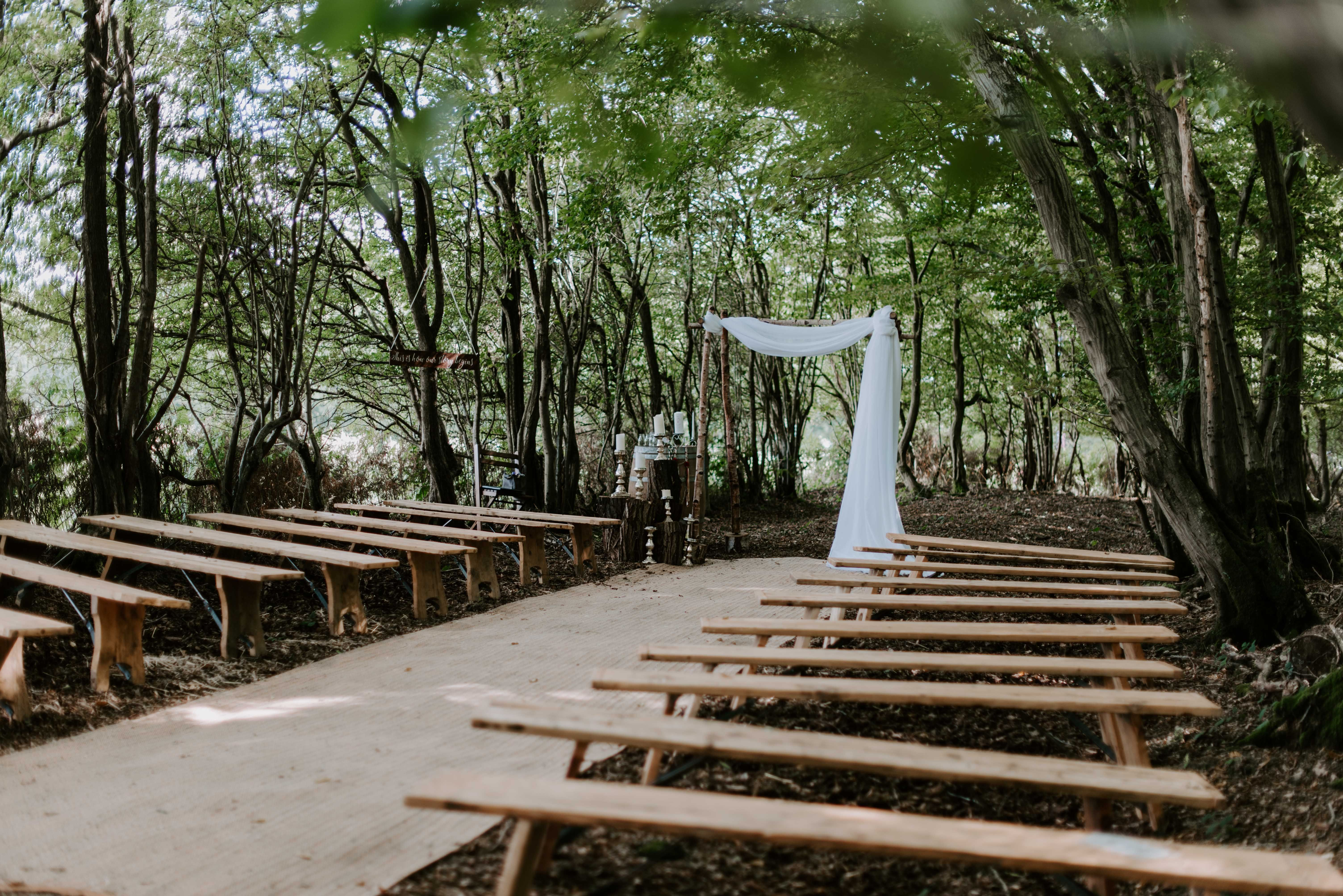 Benches make for the perfect seating for a woodland