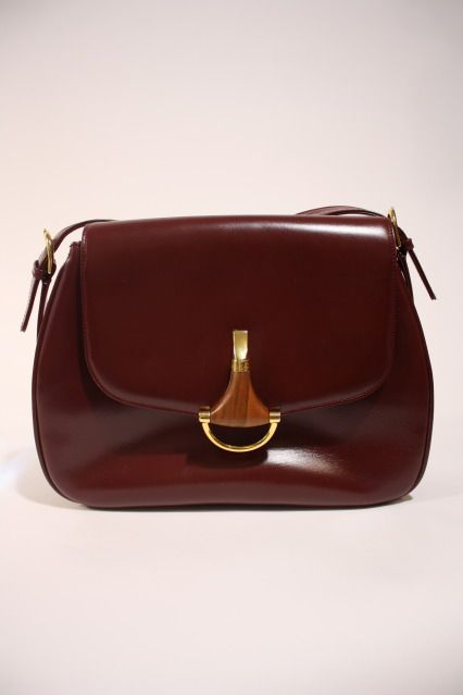 Vintage 70 s GUCCI Burgundy Leather  amp  Suede Bag with Wooden Horsebit  Clasp at Rice and c7fb0a2fd8098