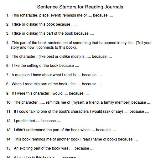 best essay starter sentences Twenty-one sentences taken from new york times articles or essays and made into generic sentence starters for writing about love and relationships just.