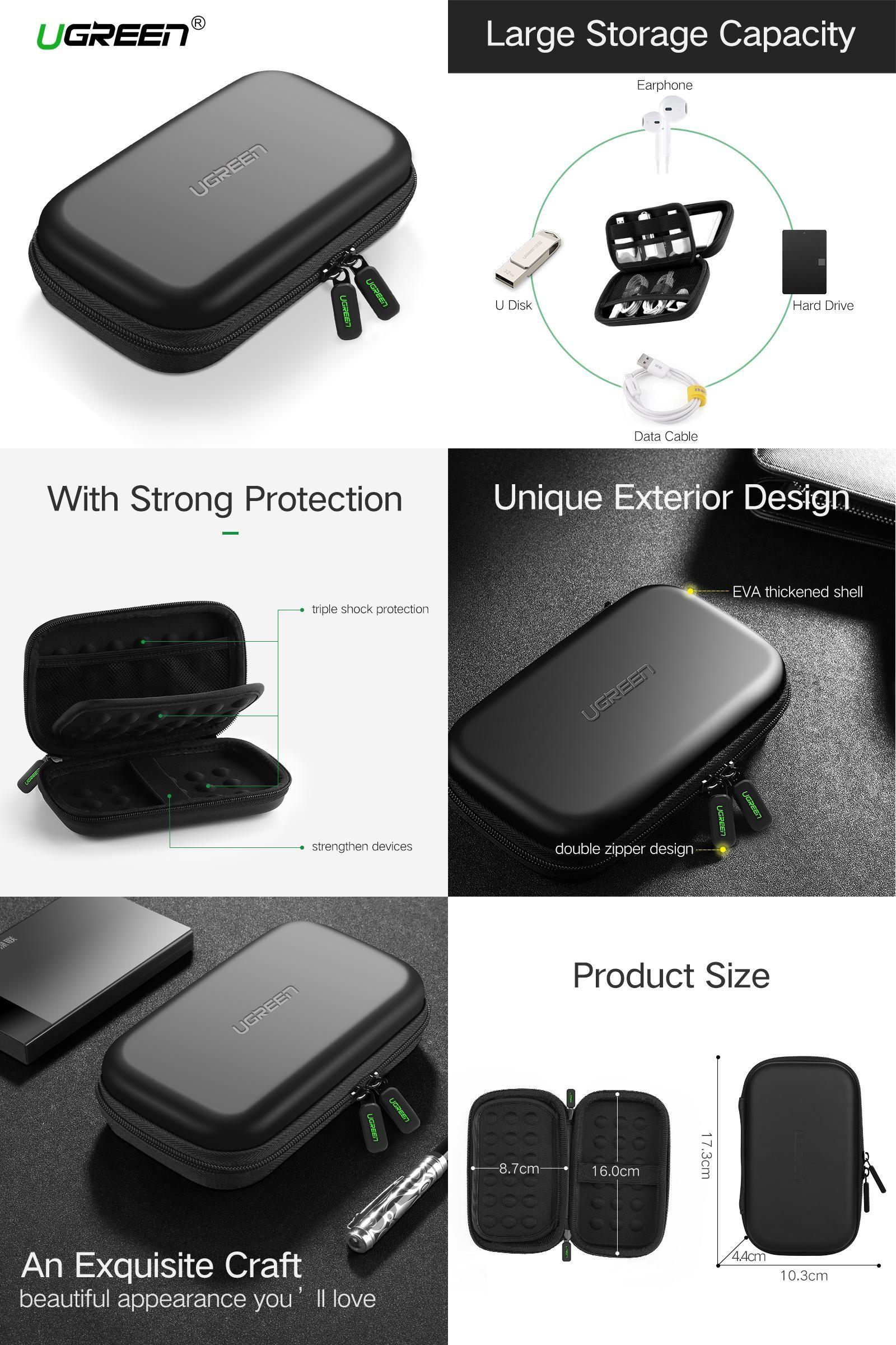 Portable Protective Bag for 2.5 inch HDD UGREEN Shockproof EVA Hard Drive Case
