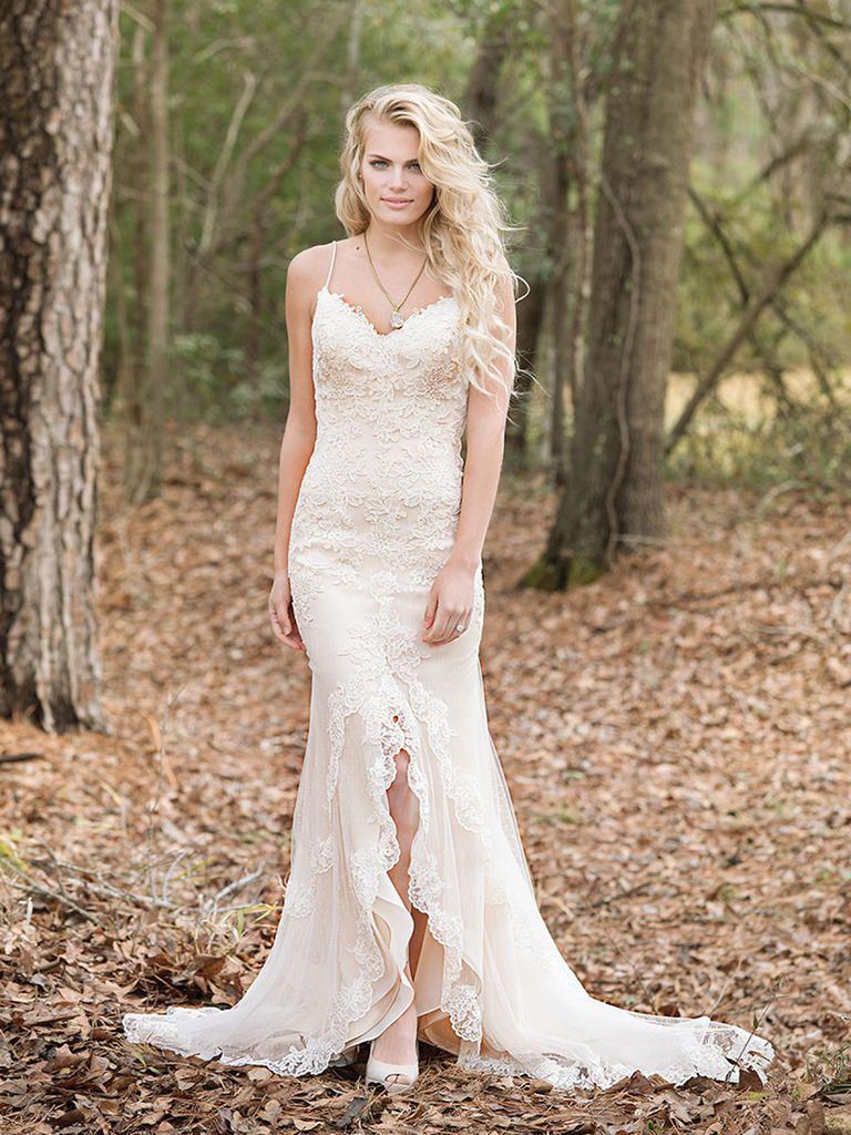 6a0eedad6dfd Lillian West Spring 2017 lace applique wedding dress with center front slit
