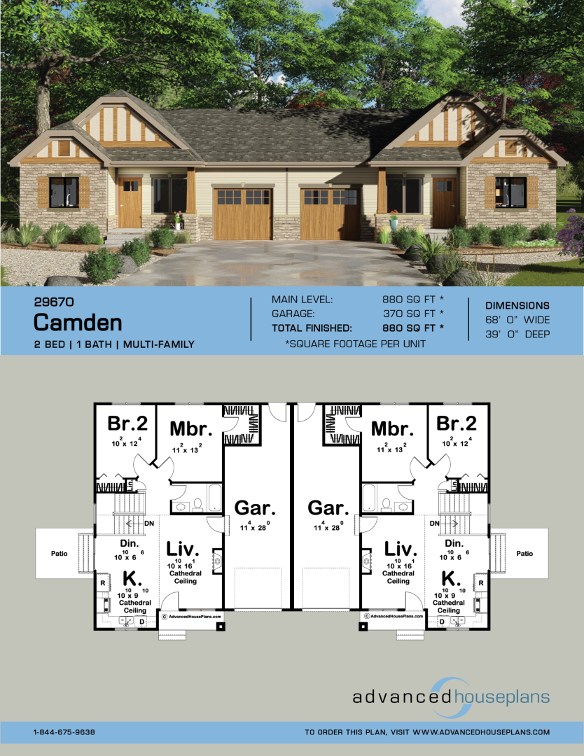 Multi Family House Plan Camden Family House Plans Duplex House Design Duplex Floor Plans
