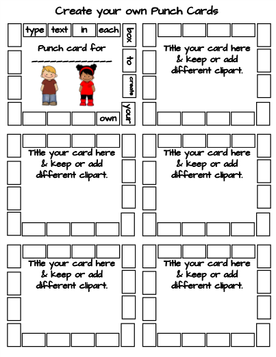 Use This Diy Punch Card Template To Create Your Own For Any Subject Topic Students Love Getting Their Cards Punched When They Ve Learned