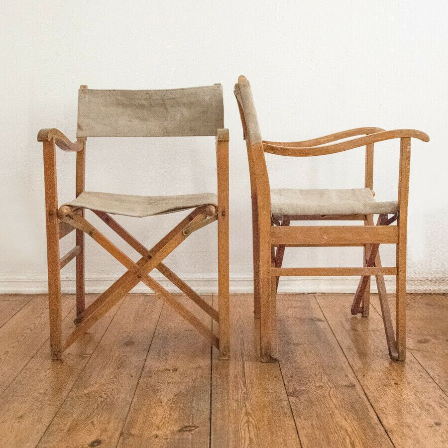 2 X Regiestuhl Safari Klappbarer Stuhl Leinen Holz Gartenstuhl Mid