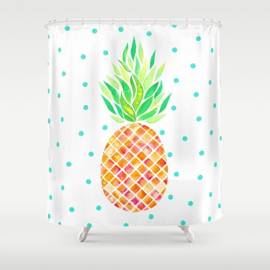 Tangerine Pineapple Shower Curtainwatercolor Pineapple Art Design