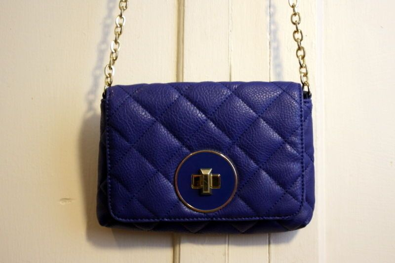 Banana Republic Cobalt Blue Quilted Small Long Chain Purse Bs Only