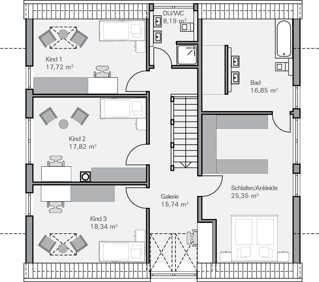 Dieser Bungalow Grundriss mit knapp 150 m² bietet 2