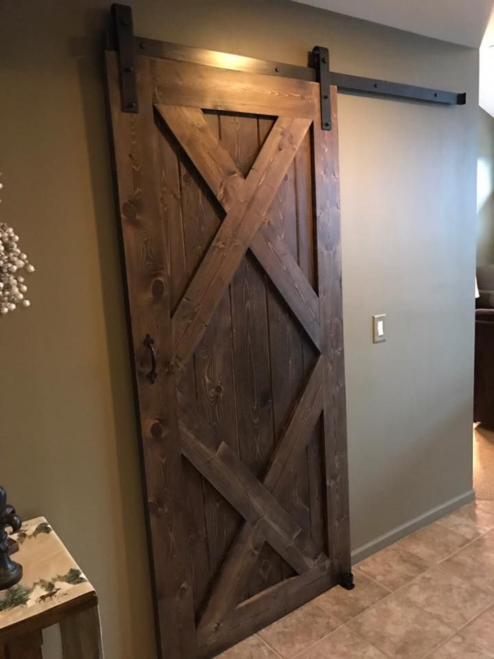 Double X Sliding Barn Door Stained In Minwax Dark Walnut Barn Door Barn Doors Sliding Stained Doors