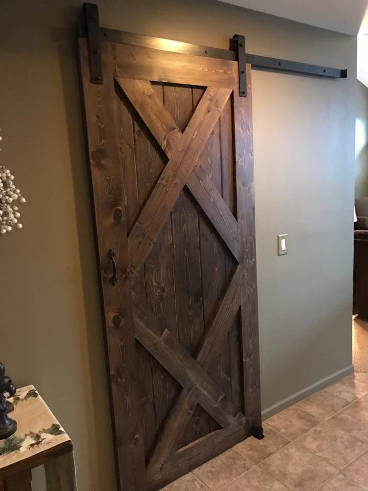 Double X Sliding Barn Door Stained In Minwax Dark Walnut Barn