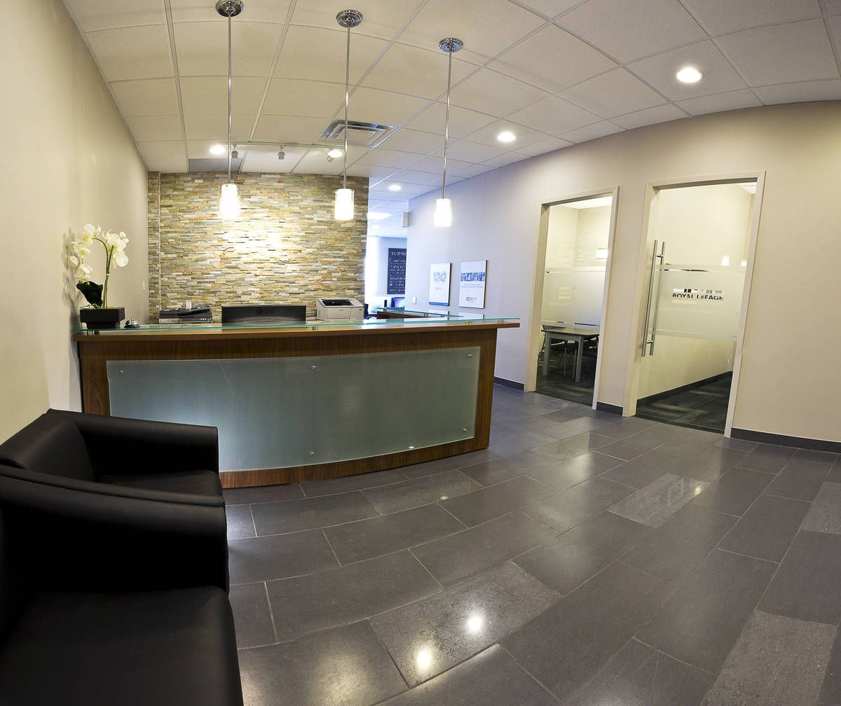 Royal LePage's Exceptional Real Estate office features an awesome reception  with use of #ledgestone