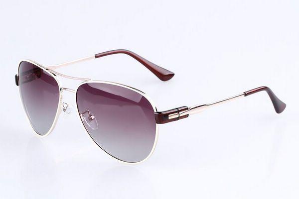 Aviators Polarized Sunglasses Womens Golden White Metal Frame Brown Ear Socks