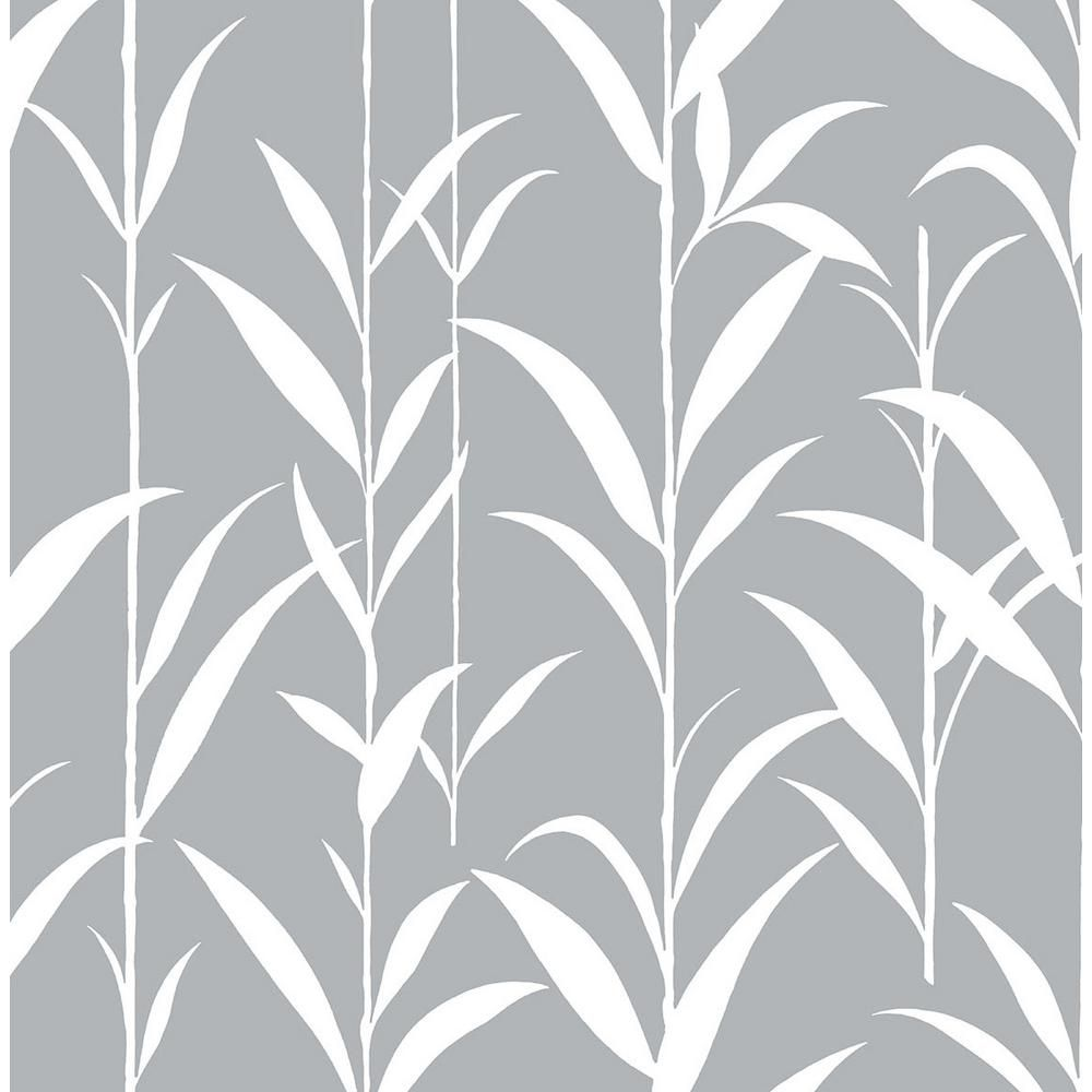 Nextwall Grey Bamboo Leaves Botanical Peel And Stick Wallpaper 30 75 Sq Ft Nw36408 The Home Depot In 2021 Peel And Stick Wallpaper Fern Wallpaper Bamboo Leaves