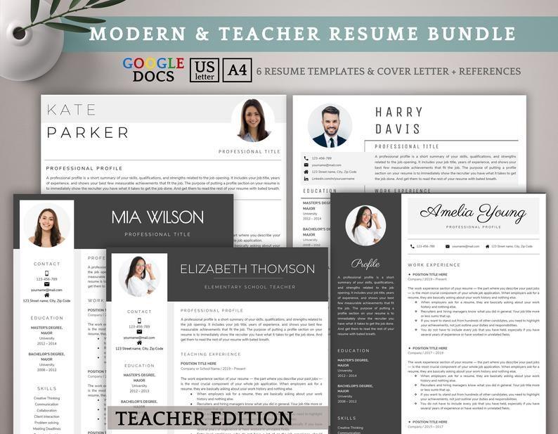 Google Docs Resume Template Bundle Teacher Resume Template Etsy Teacher Resume Template Resume Template Etsy Resume Template