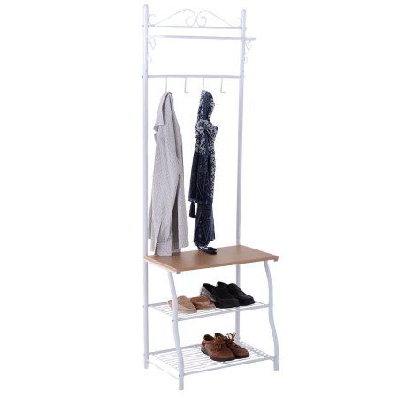 Walmart Clothes Hanger Rack Delectable Costway Metal Coat Clothes Hanger Umbrella Hat Bag Shoes Stand Rack Design Ideas