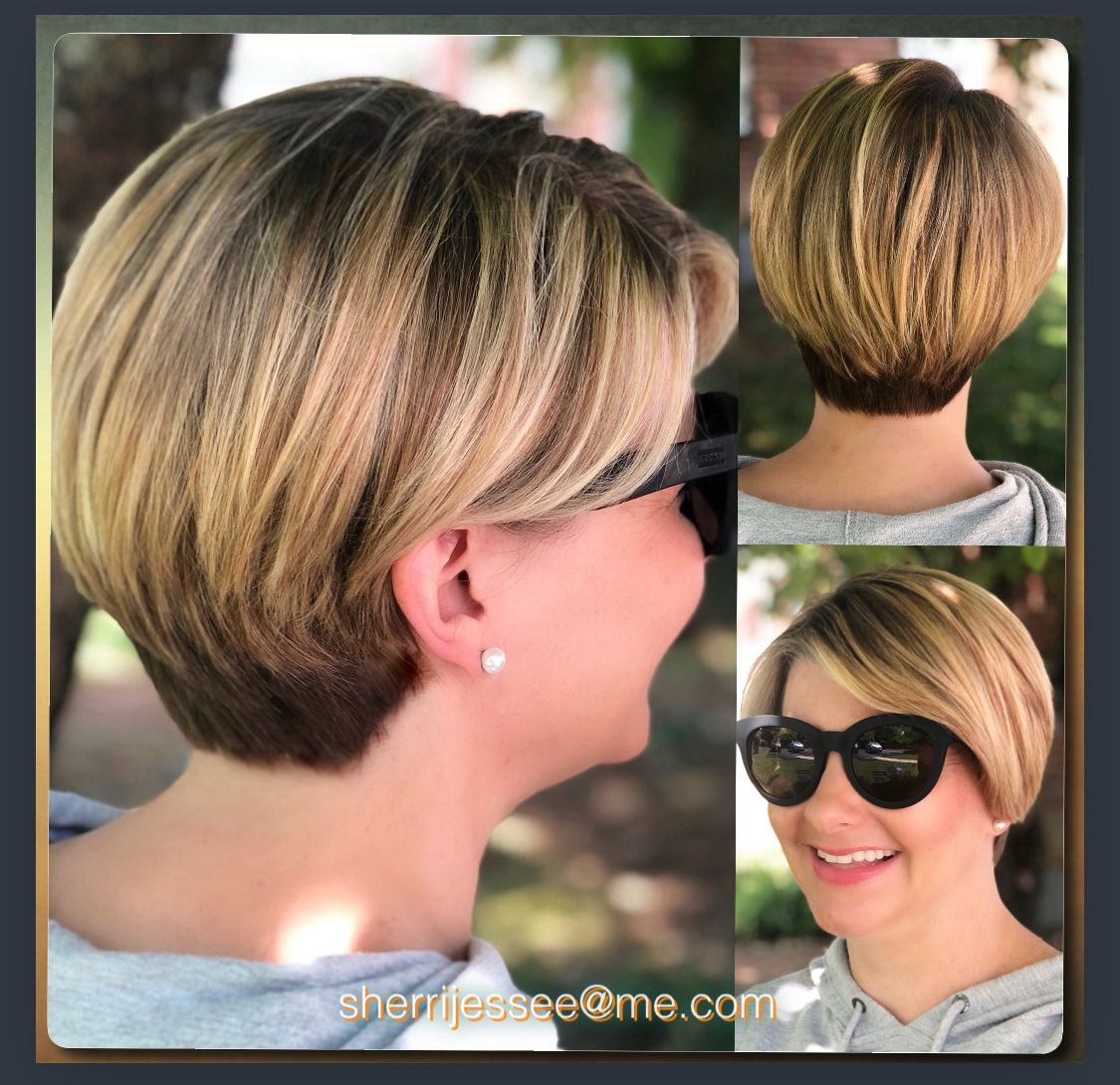 Beautiful balayage handpainted blonde shorthair hair in