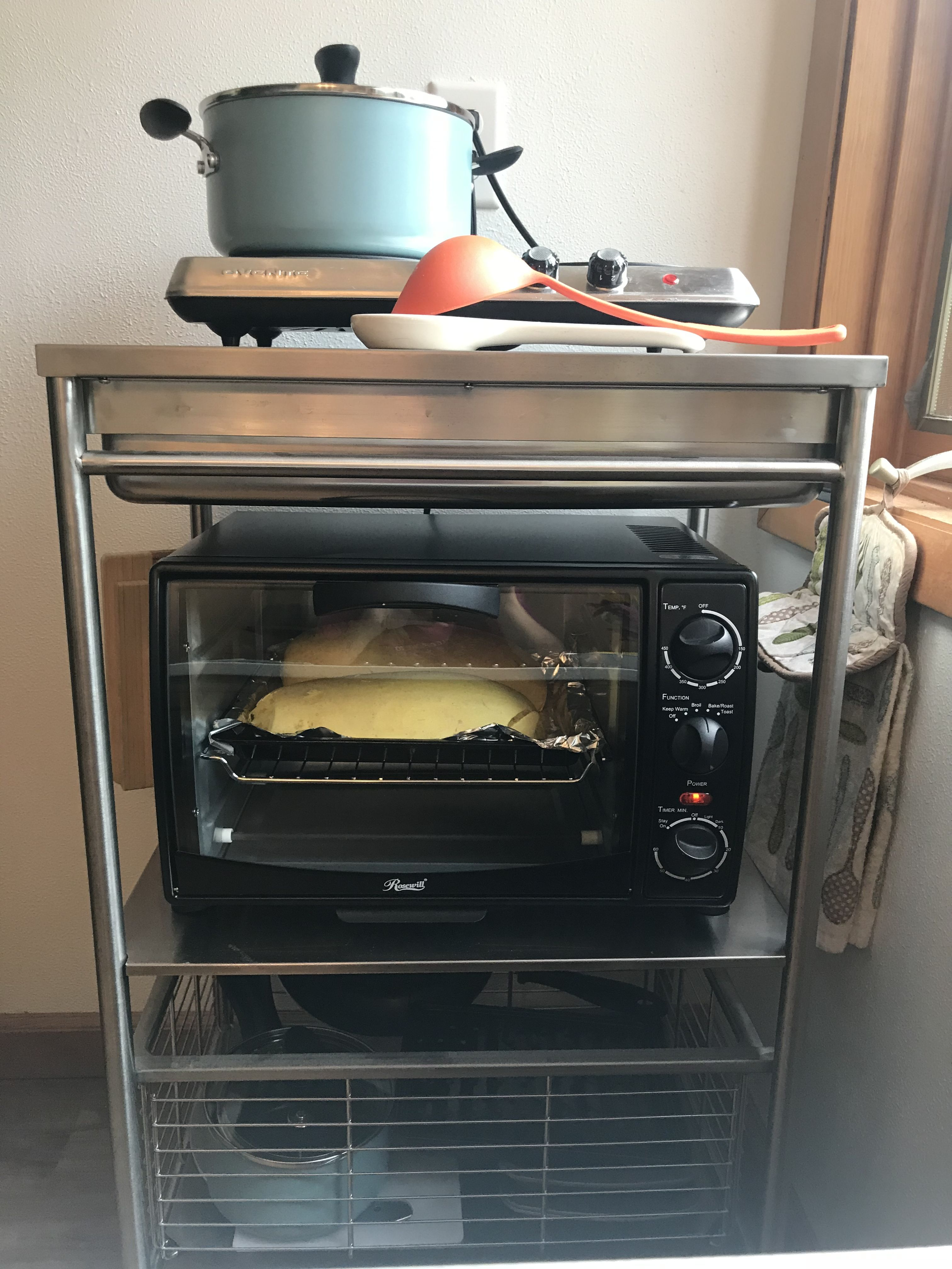 Kitchenette Countertop Oven And Hot Plate On Bar Cart Microwave Toaster Oven Toaster Oven Kitchenette