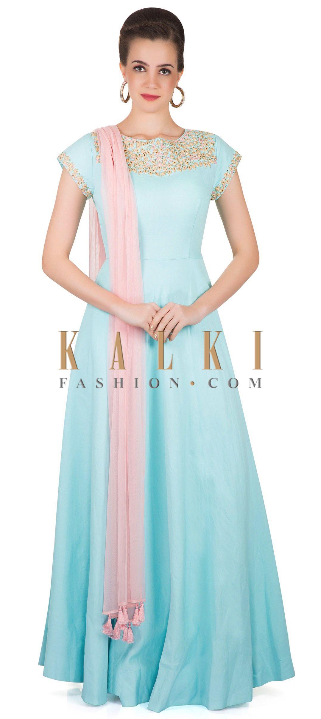 995dc6b266 Blue Cotton Silk Churidar Kameez Decorated with Cut Dana, Thread and  Zardosi Work only on Kalki