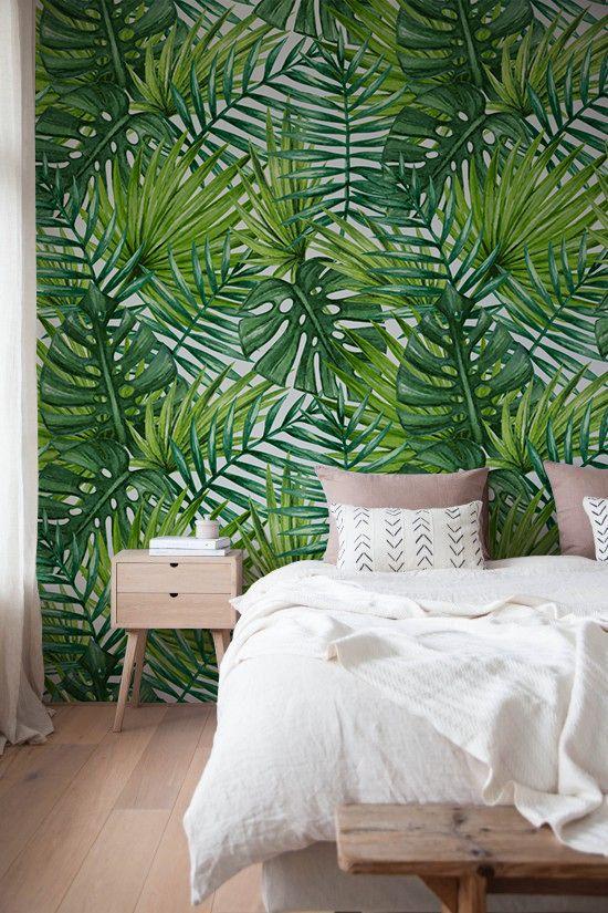 Tropical Palms and Monstera - Adhesive Wallpaper ...