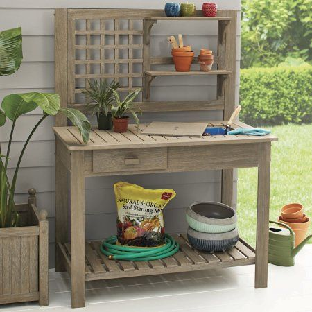 Better Homes And Gardens Trestle Collection Potting Bench Gray