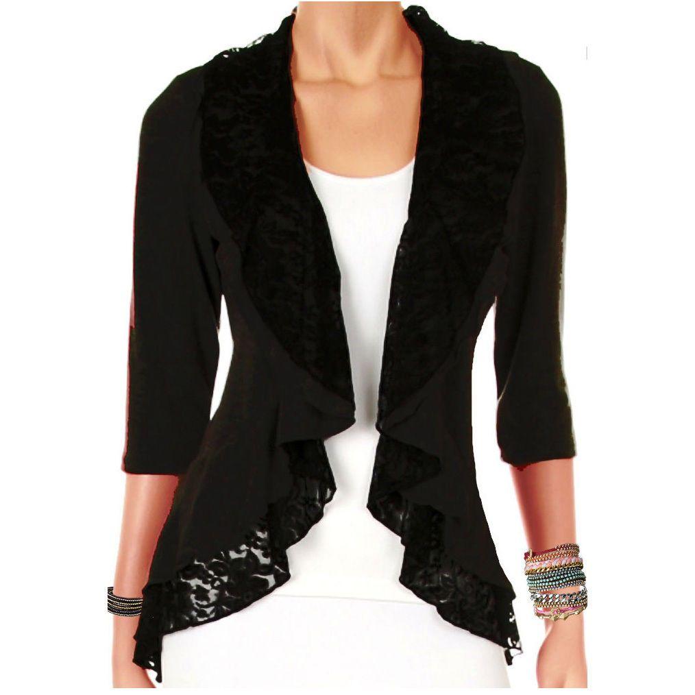 Wm Funfash Plus Size Women Black Lace Cardigan Long Sleeve Sweater ...