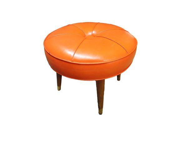 Vintage Danish Modern Footstool Round Mid Century Modern Stool