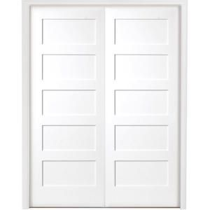 Steves Sons 60 In X 80 In 5 Panel Shaker White Primed Solid Core Wood Double Prehung Interior Door With Nickel Hinges X64m5nnnledrn The Home Depot In 2020 Prehung Interior Doors