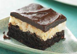 coconut almond bars using Ghiradelli's ultimate fudge brownie mix