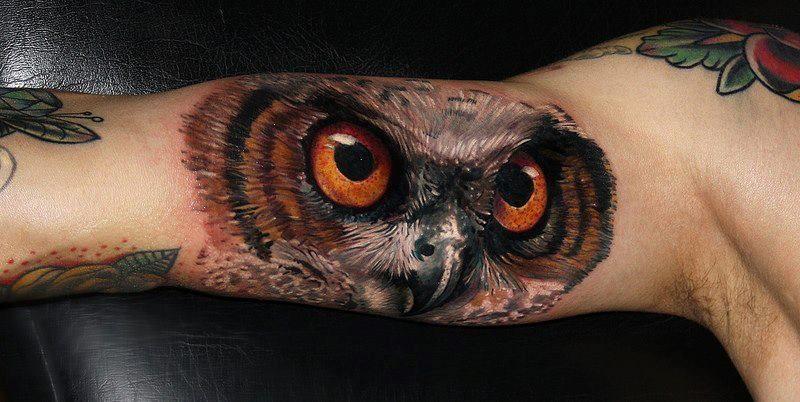 Owl With Orange Eyes Tattoo Mens Owl Tattoo Owl Tattoos On Arm Owl Tattoo Small