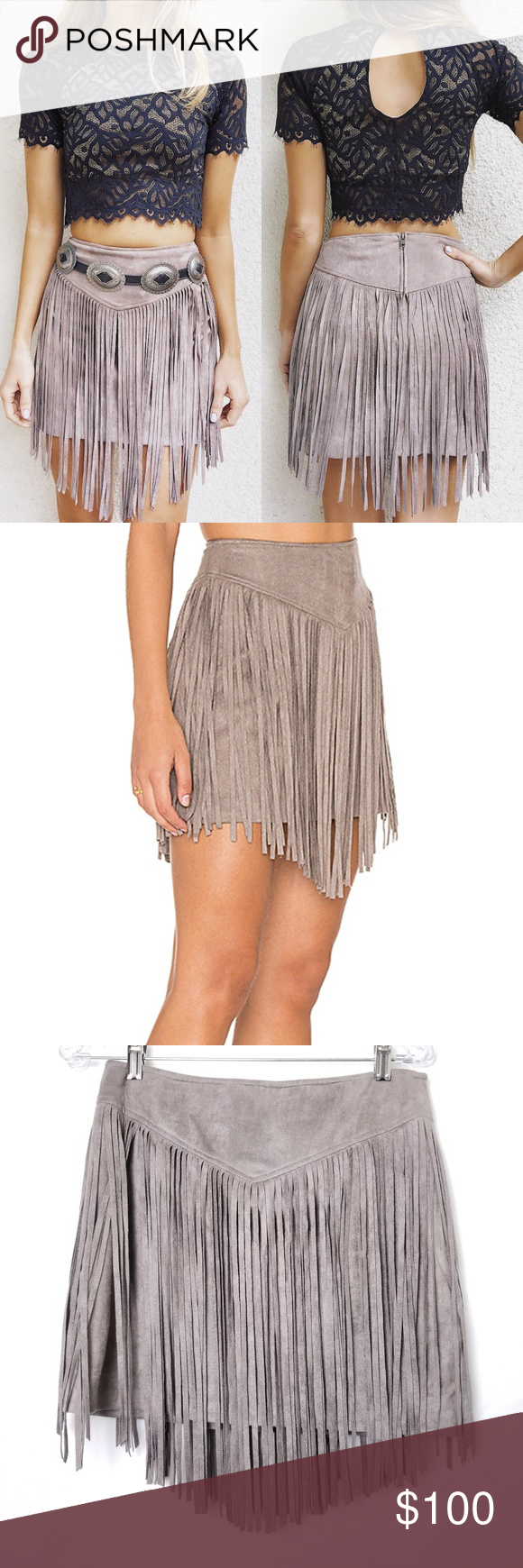 9001191957 Show Me Your Mumu Rancho Fringe Taupe Skirt Show Me Your Mumu Rancho Fringe  Taupe Faux