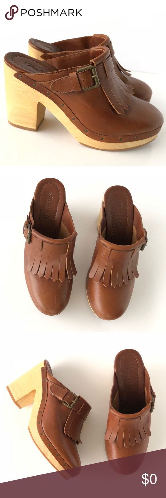 784281acfbfb Madewell Brown Leather Fringe Platform Clog Mules The perfect addition to  your flared denim. Features