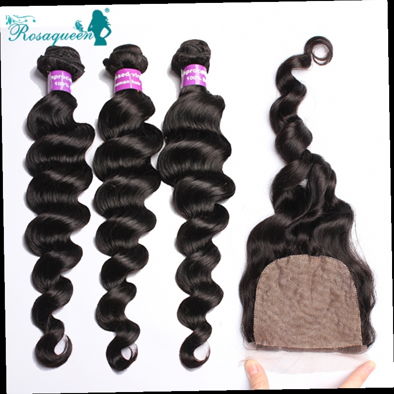 171.00$  Buy now - http://aliq25.worldwells.pw/go.php?t=1968295476 - Rosa Queen Hair Products Silk Base Closure With Bundles Cambodian Virgin Hair Loose Wave Human Hair Weave Wavy 4 Pieces Lot