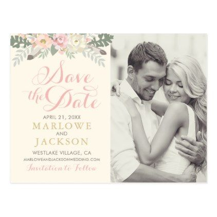 Wedding Save the Date Spring Boho Florals Postcard Florals and - wedding postcard