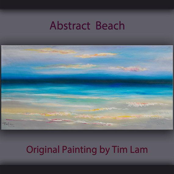 Original abstract painting Beach art seascape on gallery wrap canvas Ready to hang by tim Lam 48x24