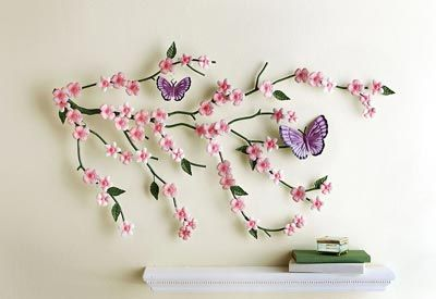 Cherry Blossom Butterflies Metal Wall Art With Images Metal