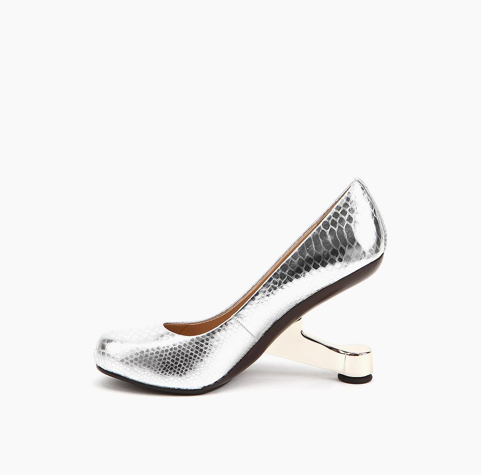 4a043ff255 Eamz Pump Silver Snake Embossed Leather | United Nude Online Shoe Store |  SS14