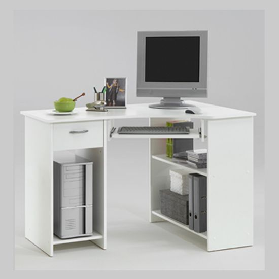 Great Felix Home Office Wooden Corner Computer Desk In White