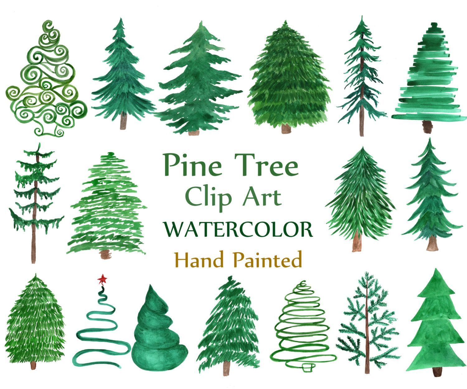 Watercolor Pine Trees Clipart Christmas Tree Etsy In 2020 Christmas Tree Clipart Tree Clipart Christmas Watercolor
